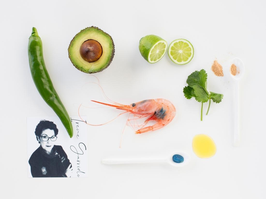 Aguachile de quisquillas de motril con 2 mayonesas (la de sus cabezas y la de sus huevas). Una receta de Irene Garrido para Álvaro García, Chef de la Quisquilla de Motril